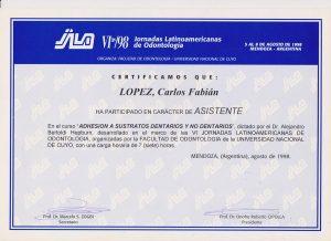 Título doctor Fabián López sobre adhesión dental de restauraciones.
